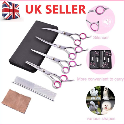 £13.40 • Buy 6Pcs Pet Hair Scissors Grooming Tool Cutting Thinning Curved Shears Comb Kit NEW