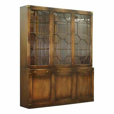 $5489.71 • Buy Harrods London Astral Glazed Military Campaign Library Bookcase Leather Desk