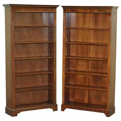 $3467.25 • Buy Lovely Pair Of Vintage Flamed Mahogany Library Bookcases Height Adjustable Shelf