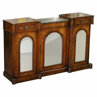 £2750 • Buy Lovely Victorian Walnut Marquetry Inlaid Credenza Sideboard Marble Top Mirrored