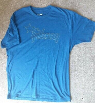 £20 • Buy Blue Gibson T-shirt - Size L Large - Guitar Company Music - Retro Style