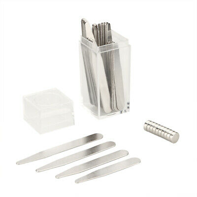 $12.69 • Buy 40 Metal Collar Stays + 10 Magnets For Men Shirts 4 Various Sizes In Clear Box
