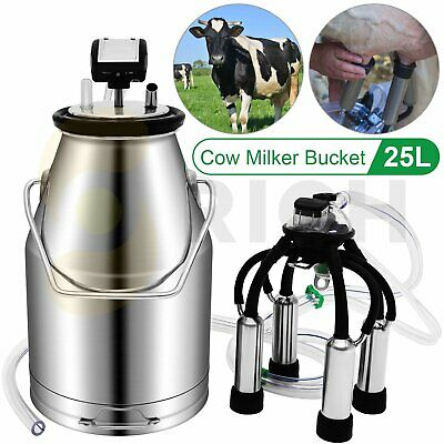 $138.99 • Buy 25L Portable Electric Milking Machine With Double Vacuum Pump For Cows Cattle
