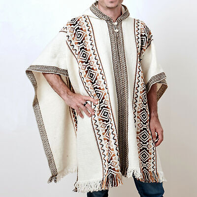 $79.95 • Buy Llama Wool Mens Women Unisex South American Poncho Cape Jacket Pullover White