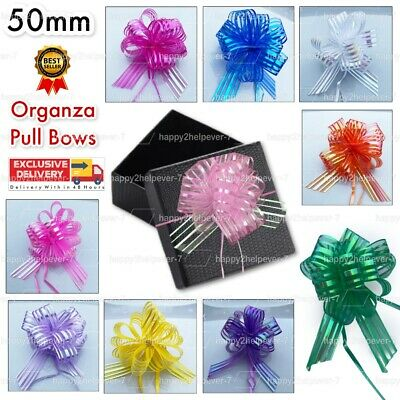 £1.45 • Buy Organza Pull Bows 50mm PREMIUM Stripe Tie Floral PARTY Decoration WRAP Ribbons