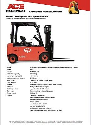 £27750 • Buy Brand New EP CPD30L1-S Electric Lithium-ion Powered 3t Container Spec Forklift