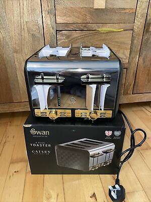 £43 • Buy Toaster 4 Slice Swan Gatsby Variable Electronic Browning Controls Black Gold