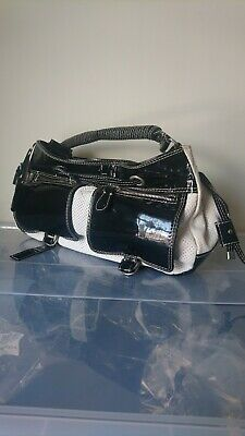 £34.99 • Buy RUSSELL & BROMLEY Black & Cream VINTAGE Leather Patent Medium To Large Hand Bag