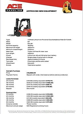 £15995 • Buy New EP EFL181 Lithium-ion Powered 1800kg Cap Triple Mast Container Spec Forklift