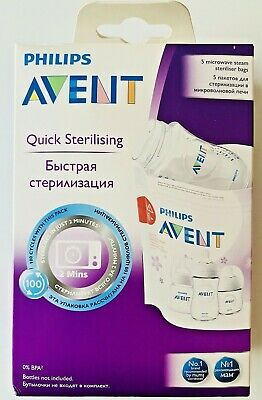 AU15.99 • Buy Philips Avent Bags Microwave Steriliser No BPA Re-useable 5 Per Pac Baby Toddler