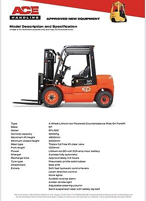 £17495 • Buy New EP 2.5t Lithium-ion Container Spec Forklift Hire-£79.99 Buy-£17495 HP-£87.37