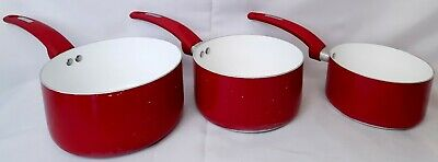 £23.99 • Buy Set Of 3 Red Tower Saucepans