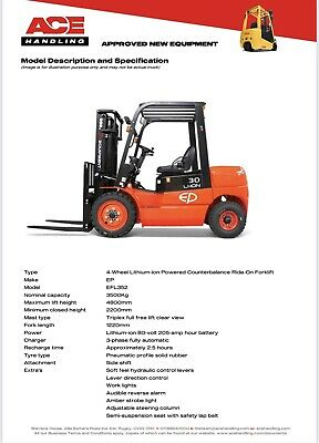 £18995 • Buy GO GREEN With A New EP EFL352 3500Kg Lithium-ion Powered Container Spec Forklift