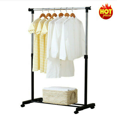 £11.99 • Buy UK Single Silver Garment Rack Portable Clothes Hanging Rail Stand With Wheels