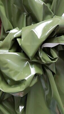 £5 • Buy Olive Green PVC Fabric Remnant Wet Look Fabric High Shine Latex Fabric Stretch