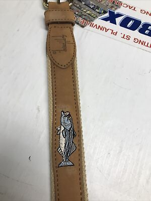 """$19.95 • Buy New Guy Harvey Embroidered Leather & Canvas Belt Size 32  Striper Fish """"Save"""""""