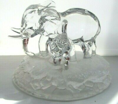 £14.99 • Buy Royal Crystal Rock Elephant & Calf Figurine Glass Paperweight Ornament