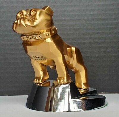 $115 • Buy Vintage MACK TRUCK BULLDOG Hood Ornament GOLD AND CHROME Paperweight Round Dog