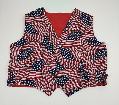 £13.01 • Buy Unbranded Unisex AMERICAN FLAG Buttonless Vest Size Men's Small Women's Large