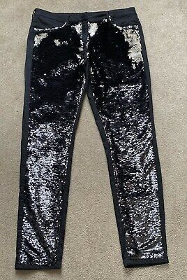 £25 • Buy Next Black Full Front Silver Sequin Sparkle Stretch Jeans 16 Reg. RRP £65 New