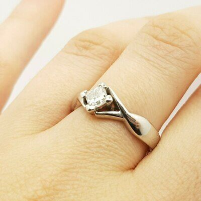 AU1894 • Buy 18ct 5.3gr White Gold 0.48ct Solitaire Diamond Ring Val $4395 Size Q #23052