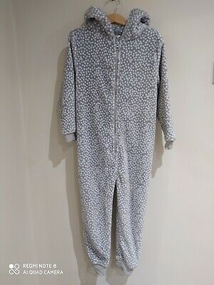 £9.99 • Buy NEXT Girls 1Onsie Age 6 Yrs Grey & White Snow Lepoard Print VGC With Bear Ears