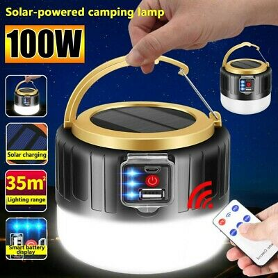 AU17.79 • Buy 100W LED Solar Light + Remote USB Rechargeable Tent Camping Emergency Outdoor