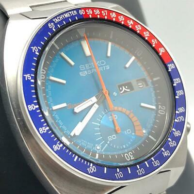 $ CDN2631 • Buy SEIKO 5 SPORTS 6139-6002 Chronograph Day-Date Pepsi Automatic Blue Dial Watch