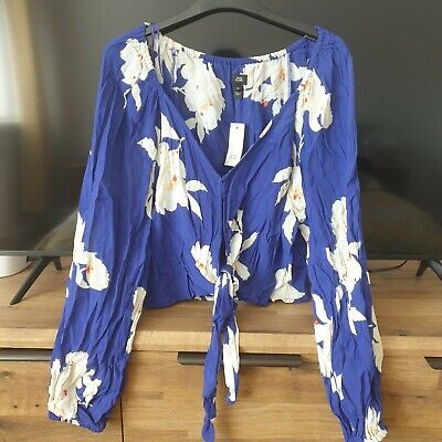 £5.50 • Buy Gorgeous River Island Tie Front Blue Floral Top Size 14 BNWT