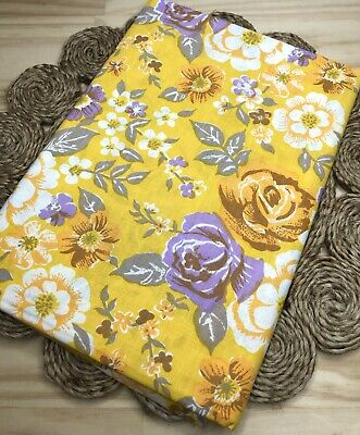 AU30 • Buy Vintage New 100% Cotton Yellow Roses Print Retro Floral Single Bed Sheet