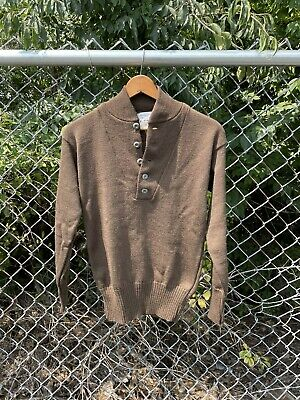 $39 • Buy Vintage 80s Military Issue 100% Wool 5 Button Olive Drab Combat Sweater Medium