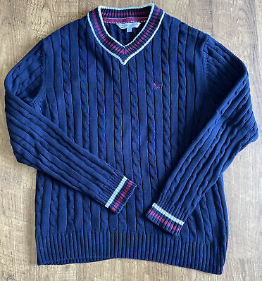 $13.98 • Buy Mens Crew Clothing Navy Cable Knit Cricket Jumper Size Small S 100% Cotton