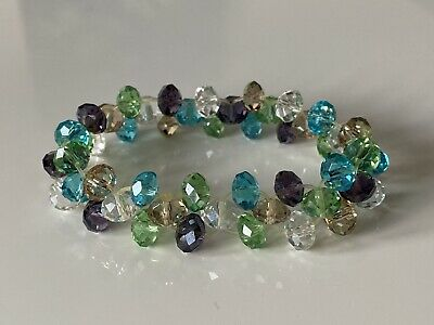 £5 • Buy Sparkly Little Mixed Acrylic Coloured Stretchy Bracelet - Costume Jewellery