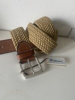 £40 • Buy ANDERSON'S Leather Trim Elasticated 3.8cm Wide Woven Men's Belt Brown NWT