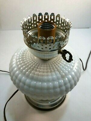 $14.50 • Buy Vintage Hobnail Milk Glass Hurricane Lamp Base - Electric - Very Good Condition