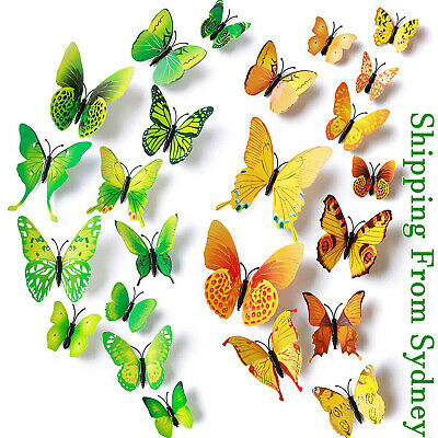 AU6.05 • Buy 24PCS 3D Butterfly Wall Removable Stickers Decals Kids Art Nursery Decor Magnets