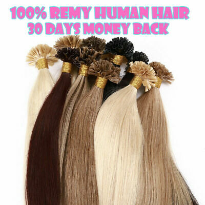 $31.61 • Buy Pre-Bonded Glue Keratin Fusion U Tip Remy Human Hair Extensions Double Drawn1g/s