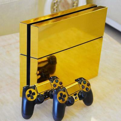 AU15.89 • Buy Gold PS4 Playstation 4 Skin Wrap Sticker Decal Cover Console W/ 2 Controller Set