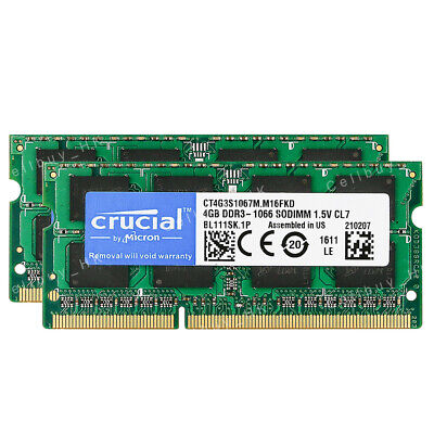 $43.23 • Buy Crucial 8GB 2X4GB PC3-8500 DDR3 1066Mhz Memory For Apple MacBook Pro 13-Inch