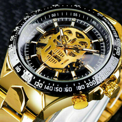 £19.99 • Buy Mens Mechanical Skeleton Watches Stainless Steel Automatic Skull  Wrist Watches