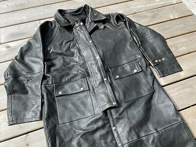 $149.99 • Buy Vintage 90s Leather Matrix Trench Coat Black Cowboy Duster Hipster Goth Mens