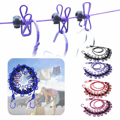 £5.35 • Buy Elasticity Clothesline Rope With Windproof 12 Clips Retractable Camping Outdoor