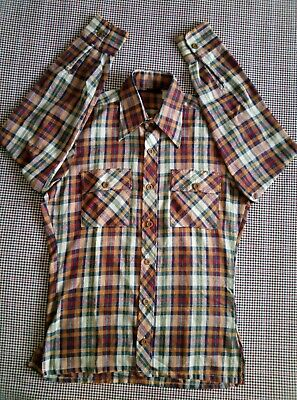 £7.75 • Buy Ladies Dagger Collar Checked Shirt : Size Large / 14 Mod Scooter  Skin Girl 80s