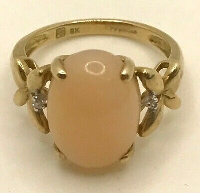 $ CDN46.74 • Buy 9ct Gold Polished Cabachon Peach Gemstone Ring Butterfly Shoulders & 2 CZ Stones
