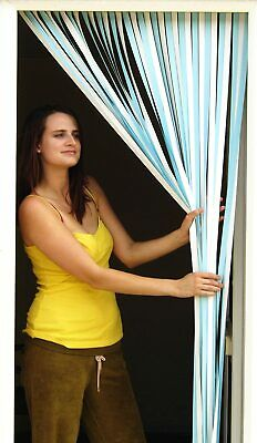 £15.99 • Buy Slat Type Door Curtain Bug.Dirt,Insects,Fly,Strip Blind SKY BLUE With HOOKS