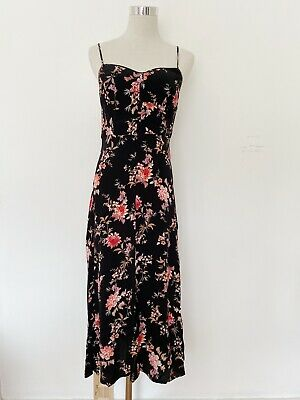 AU49 • Buy Forever New 90s Style Black Floral Midi Dress With Spaghetti Straps Size 8