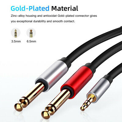 £6.12 • Buy 6ft Twin Male 1/4  6.35mm Mono Jack To Male 1/8  3.5mm Stereo Jack Cord