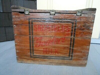 $95 • Buy Antique Sheffield Farms Sealect Milk Wood Hinged Milk Box Became Kraft In 1925