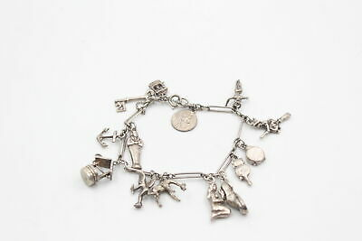 £13.16 • Buy Vintage .925 Sterling Silver CHARM BRACELET W/ Wishing Well & Safety Chain (33g)