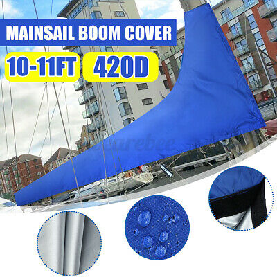 $49.99 • Buy Premium Quality 10 To 11 Feet Sail Cover Boat Yacht Boom Mainsail Cover Blue US